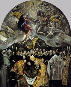 Click image to enlarge. El Greco (Spanish, born Greece), Burial of the Count of Orgaz, 1586, oil on canvas, 460 cm × 360 cm, Iglesia Santo Tomé, Toledo.