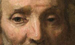Image from Omaha World Herald. Click to enlarge. Rembrandt, Portriat of Dirck van Os, detail.