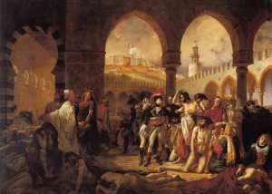 Click image to enlarge. Baron Antoine-Jean Gros (French), Napoleon Visiting the Plague Victims at Jaffa, 1804, oil on canvas, 715 x 523 cm, Musée du Louvre, Paris.