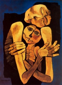 Click image to enlarge. Oswaldo Guayasamin (Ecuadorian), Madre y  niño (Mother and Child), 1989.