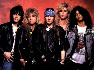 Click image to enlarge. Promotional photo of original Guns N' Roses lineup, 1987.