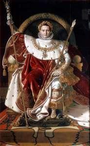 Click image to enlarge. Jean-Auguste-Dominique Ingres (French), Napoleon on his Imperial Throne, 1806, oil on canvas, 259 x 162 cm, Musée de l'Armée, Paris.
