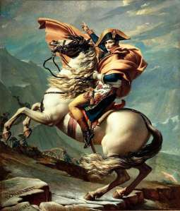 Click image to enlarge. Jaques-Louis David (French), Napoleon Crossing the Alps, 1800, oil on canvas, 259 × 221 cm, Château de Malmaison, Rueil-Malmaison.