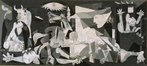 Click image to enlarge. Pablo Picasso (Spanish), Guernica, 1937, oil on canvas, 349 cm × 776 cm, Museo Reina Sofía, Madrid.