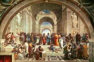 Click image to enlarge. Raffaello Sanzio da Urbino, called Raphael (Italian), The School of Athens, 1509-10, fresco, Apostolic Palace, Vatican.
