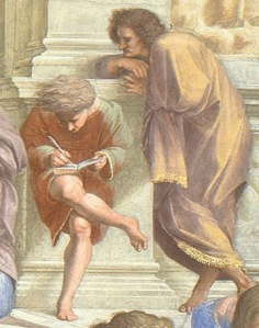 Click image to enlarge. Raphael, The School of Athens, detail of two unknown figures.