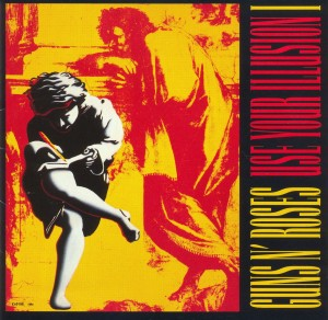 Click image to enlarge. Cover art for Use Your Illusion I, album by Guns N' Roses, 1990.