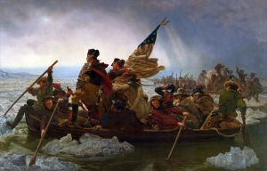 Click image to enlarge. Emanuel Leutze (German-born American), Washington Crossing the Delaware, 1851, oil on canvas, 378.5 x 647.7 cm, Metropolitan Museum of Art, New York.