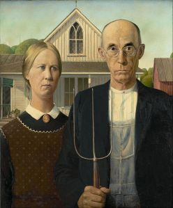 Click image to enlarge. Grant Wood, American Gothic, 1930, oil on beaverboard, 78 x 65.3 cm, Art Institute of Chicago.