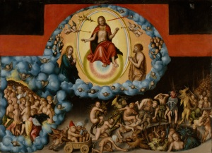 Click image to enlarge. Lucas Cranach the Elder (German), The Last Judgement, c. 1525-30, oil on wood panel, 73.34 x 99.85 cm, The Nelson-Atkins Museum of Art, Kansas City.