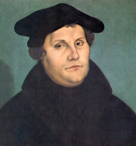 Click image to enlarge. Lucas Cranach the Elder (German), Portrait of Martin Luther, 1529, oil on panel, 37 x 23 cm, Galleria degli Uffizi, Florence.