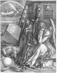 Click image to enlarge. Albrecht Dürer (German), Melencolia I, 1514, woodcut, 24 x 18.5 cm, Metropolitan Museum of Art, New York.