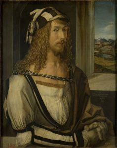 Click image to enlarge. Albrecht Dürer (German), Self Portrait, 1498, oil on panel, 52 x 41 cm, Museo Nacional del Prado, Madrid.