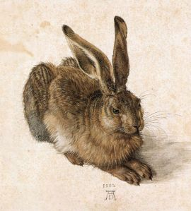 Click image to enlarge. Albrecht Dürer (German), Young Hare, 1502, watercolor on cream wash, 25.1 x 22.6 cm, Albertina Museum, Vienna.