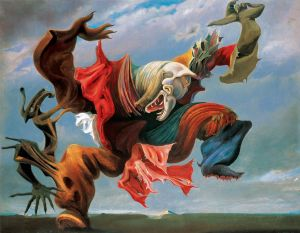 Click image to enlarge. Max Ernst (German), Fireside Angel, 1937, oil on canvas, 112.5 x 144 cm, private collection.