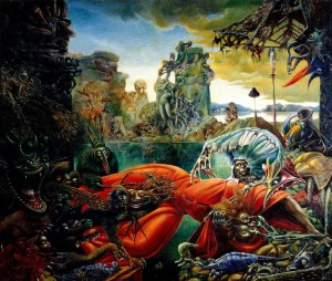 Click image to enlarge. Max Ernst (German), The Temptation of St. Anthony, 1945, oil on canvas, Wilhelm Lehmbruck Museum, Duisberg, Germany.