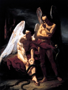 Click image to enlarge. François B.-M.-E. Cibot (French), Fallen Angels, 1833, oil on canvas, 124.46 x 95.25 cm, Joslyn Art Museum, Omaha.