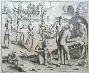 Click image to enlarge. Theodor de Bry (French Belgian), Tupinamba Grilling Human Body Parts, 1592, engraving, Americae Tertia Pars, Public Library Rare Books Division, New York.