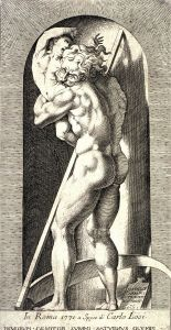 Click image to enlarge. Rosso Fiorentino, Saturn, 1530, engraving.