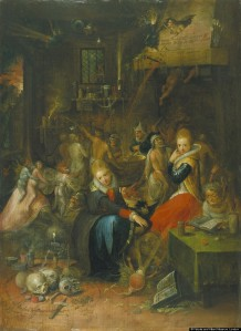 Click image to enlarge. Frans Francken II (Belgain), Witches' Sabbath, 1606, oil on oak panel, 50 x 63 cm, Victoria and Albert Museum, London.