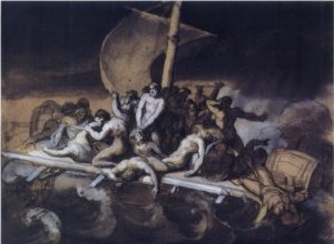 Click image to enlarge. Théodore Géricault (French), Cannibalism on the Raft of the Medusa, 1818, gouache, crayon, & ink wash on paper, 28 x 38 cm, Musée du Louvre, Paris.