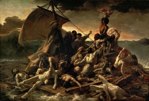 Click image to enlarge. Théodore Géricault (French), The Raft of the Medusa, 1818-19, oil on canvas, 491 cm × 716 cm,  Musée du Louvre, Paris.