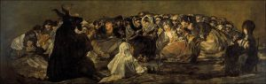 Click image to enlarge. Francisco de Goya (Spanish), Witches' Sabbath, 1821-3, mural transferred to canvas, 140 x 438 cm, Museo Nacional del Prado, Madrid.