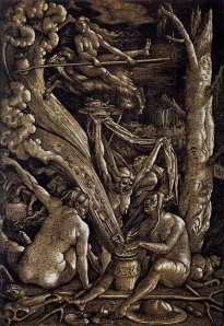 Click image to enlarge. Hans Baldung Grien (German), Witches' Sabbath, 1510, chiaroscuro woodcut from two blocks, printed in gray and black, 37.1 x 25.5 cm., Museum of Fine Arts, Boston.