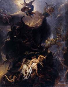 Click image to enlarge. Charles Le Brun (French), The Fall of the Rebel Angels, c. 1685, oil on canvas, 162 x 129 cm, Musée des Beaux-Arts de Dijon.