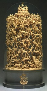 Click image to enlarge. Unknown artist (formerly attributed to Jakob Auer, Austrian), The Fall of the Rebel Angels, early 18th century, ivory,  27.31 x 15.24 cm, The Nelson-Atkins Museum of Art, Kansas City.