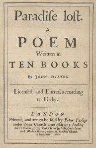 Click image to enlarge. Cover of Paradise Lost, first version, by John Milton, 1667.