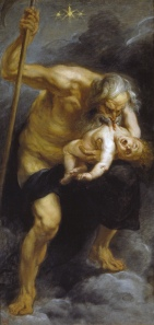 Click image to enlarge. Peter Paul Rubens (Flemish), Saturn Devouring One of His Sons, 1636-7, oil on canvas, 180 x 87 cm, Museo Nacional del Prado, Madrid.