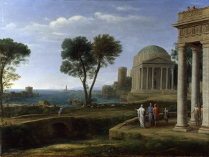 Click image to enlarge. Claude Lorrain (French), Landscape with Aeneas at Delos, 1672, oil on canvas, 134 x 99.7 cm, National Gallery, London.