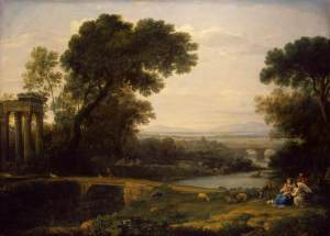 Click image to enlarge. Claude Lorrain (French), Landscape with Rest on the Flight into Egypt, 1666, oil on canvas, 157 x 116 cm, The Hermitage, St. Petersburg.
