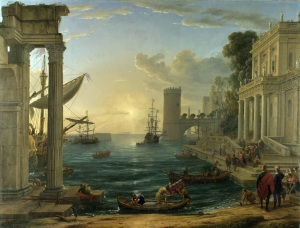 Click image to enlarge. Claude Lorrain (French), Embarkation of the Queen of Sheba, 1648, oil on canvas, 149 x 194 cm, National Gallery, London.