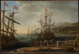 Click image to enlarge. Claude Lorrain (French), The Trojan Women Setting Fire to their Fleet, c. 1643, oil on canvas, 105.1 x 152.1 cm, The Metropolitan Museum of Art, New York.
