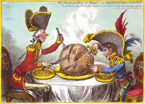 Click image to enlarge. James Gillray (English), Plum Pudding in Danger, 1805, illustration.