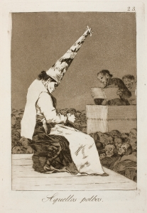 "Click image to enlarge. Francisco de Goya (Spanish) Los Caprichos, plate 23, Aquellos polbos, ""Those Specks of Dust,"" 1797-99, etching, 306 x 201 mm, Museo Nacional del Prado, Madrid."