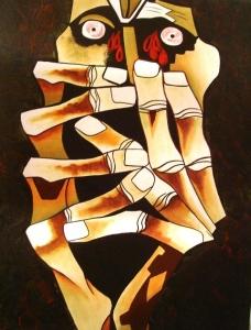 Click image to enlarge. Oswaldo Guayasamin (Ecuadorian), Lagrimas de sangre, Tears of Blood, 1973, Capilla del Hombre, Quito.