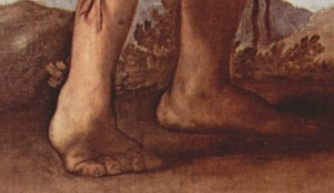 Click image to enlarge. Jusepe de Ribera (Spanish), The Clubfoot, detail of feet.